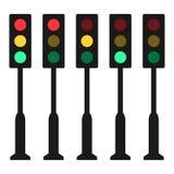 Simple, flat traffic light pole. Five frames. Isolated on white. Simple, flat traffic light pole. Five frames. Isolated on a white background Stock Image