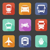 Simple flat transport icons set with long shadows Stock Images