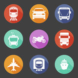 Simple flat transport icons set with long shadows Stock Image