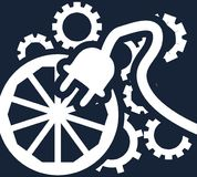 Simple flat vector clipart on a dark background - the concept of ingenuity, know-how, inventions of mankind. Symbolic illustration of a wheel, few gears and Stock Image