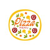 Simple flat vector colorful pizza with vegetables and sausage for pizzeria business logo design. Fast food baked goods. Simple flat colorful pizza with vector illustration