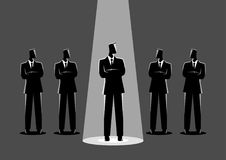 Businessman being spotlighted. Simple flat vector illustration of a businessman being spotlighted among other businessmen. Stand out from the crowd, promotion stock illustration