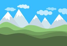 Simple flat vector landscape with mountains, green hills and blue cloudy sky. royalty free illustration