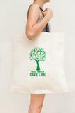 Simple flax eco bag. Save world, save life Royalty Free Stock Image
