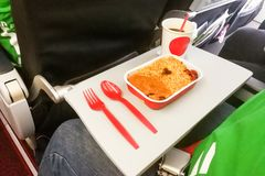 Simple in-flight meal of rice, meat, coffee in disposable utensi. Simple in-flight prepared meal of rice, meat, coffee in disposable utensils Royalty Free Stock Photography