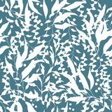 Simple floral background with white flowers on a blue background. Drawn floral textures. Blue ornament to decorate fabrics, tiles. And paper and wallpaper on stock illustration