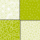 Simple floral light green and white seamless patterns set.. Vector illustration Stock Photo