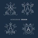 Simple floral monogram line art style logo vector illustration Royalty Free Stock Images