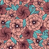 Simple floral ornament pattern in retro style in pink tones. royalty free illustration
