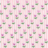 A simple floral pastel color texture: pink tulips with a green stem and leaves on a pink background in a white stripe. Beautiful summer natural natural pattern stock illustration