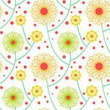 Simple floral pattern with bold flowers. Simple floral ornamented seamless pattern with bold and stylized flowers. Texture background for web, print, home decor Royalty Free Stock Photos