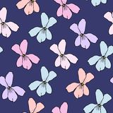 Simple Floral Pattern for Seamless Background, Print, Furniture Upholstery. Small Floral Rapport with Silhouettes of Primitive Flo. Simple Floral Pattern. Cute Royalty Free Stock Photo