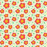 Simple floral pattern with poppies Stock Photo