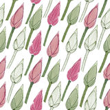 Simple floral pattern. Seamless. Lotus buds. Stock Illustration