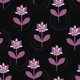 Simple floral pattern. Silhouettes of flowers with stems and leaves, abstract buds, round elements. Stock Images