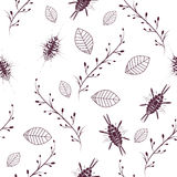 Simple floral seamless pattern background. Doodle Stock Photos