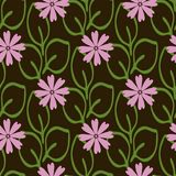 Simple floral seamless pattern. Repeated flowers and leaves. Royalty Free Stock Photos