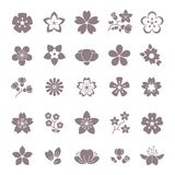 Simple flower, floral graphic vector icons set vector illustration