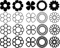 Simple flowers black and white. Simple flowers vectors various shapes and size black and white Royalty Free Stock Photo