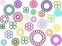 Simple flowers without fill royalty free stock images
