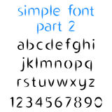 Simple font, the second part. Lowercase letters and numbers.Vector illustration Royalty Free Stock Image