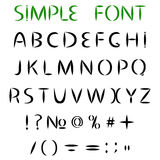 Simple font. Uppercase letters with sharp ends, and punctuation.Vector illustration Royalty Free Stock Photography