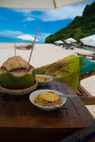 Simple food on the beach Royalty Free Stock Image