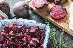 Simple food, beetroot bake with goats cheese royalty free stock photo