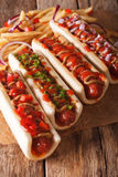 Simple food: hot dogs and french fries closeup on the table. ver Royalty Free Stock Image