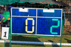 Simple football scoreboard. Showing score of a game Stock Photos