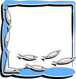 Simple frame with abstract fish Royalty Free Stock Photography