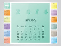 Simple frame like color 2014 calendar Royalty Free Stock Image