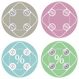 Simple frames. Set of four colored flat simple frames and percent symbol Stock Photos