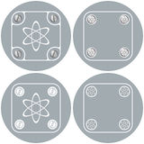 Simple frames. Set of four flat simple frames and science symbol Stock Image