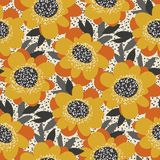 Simple free drawn floral seamless pattern. Retro 60s flower moti. F in fall orange and yellow colors. vector illustration Royalty Free Stock Photos