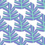 Simple Freehand Winter Leaves Seamless Pattern. Exotic Plant Texture. Royalty Free Stock Images