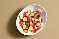 Simple fresh salad with feta cheese Royalty Free Stock Images