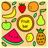 Simple fruits and leaves fruit bar sign, vector. Background Royalty Free Stock Images