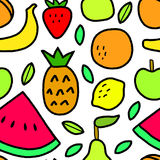 Simple fruits and leaves on white seamless pattern, vector. Background Royalty Free Stock Photos