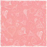 Simple Funky Arty Hearts Doodles Pink Worn Folded Paper Background. 12x12 300dpi beautiful eclectic paper for backgrounds Royalty Free Illustration
