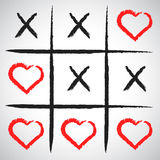 Simple game - X-O game.Hand drawn tic-tac-toe elements.Happy Val. Entines day symbol.Vector illustration Royalty Free Stock Photo