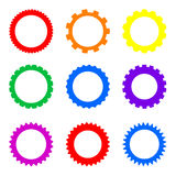 Simple Gear Rainbow set. Set of colored gears isolated on white background Royalty Free Stock Image