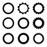 Simple Gear set. Set of simple gears isolated on white background Royalty Free Stock Photography