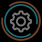 Simple Gear Thin Line Vector Icon royalty free illustration