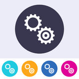 Simple gears icon colorful buttons Stock Image