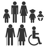 Simple gender human figures. Man, woman, boy, girl, baby, old ma. Man, woman, boy, girl, baby, old man, invalid - set of vector icons for toilet, restroom Royalty Free Stock Photos