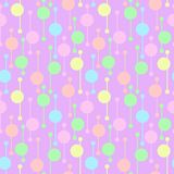 Simple geometric colorful circles and lines on light background. Bright abstract vector seamless patterns for textile, prints, stock illustration