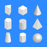 Simple geometric figures isometric, vector illustration. Simple geometric shapes, isolated on a blue background. 3D isometric style, vector illustration Stock Photos