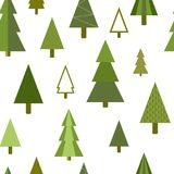 Simple geometric firs, pines, Christmas trees seamless background. Simple geometric firs, pines, Christmas trees seamless pattern, vector background Royalty Free Stock Images