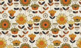 Simple Geometric Floral Seamless Pattern. Royalty Free Stock Image